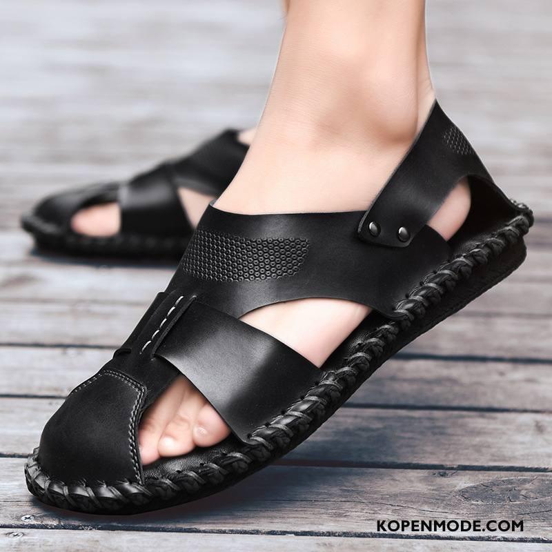 Sandalen Heren Zomer Mannen Slip On Echt Leer Schoenen Persoonlijk Zwart