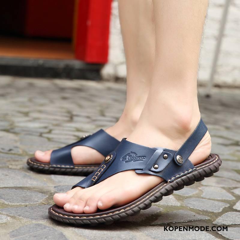 Sandalen Heren Zomer Sandaal Mannen Trend Pantoffels Schoenen Blauw Zandkleur