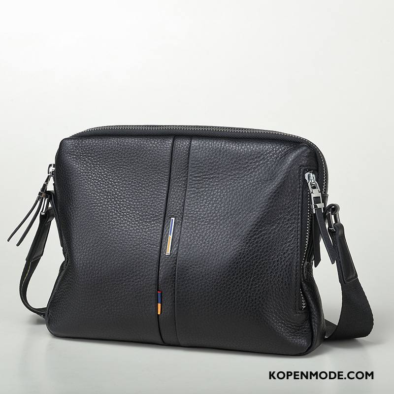 Schoudertas Heren Casual Lederen Mode Messenger Tas Mannen Mini Zwart