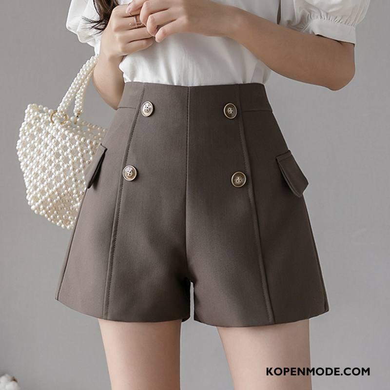 Shorts Dames Dunne Nieuw Voorjaar Elegante Hoge Taille Bovenkleding Bruine