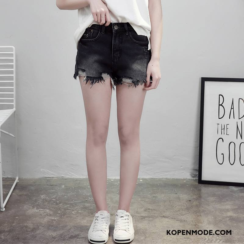 Shorts Dames Jeugd Korte Broek Persoonlijk Populair Hete Broek Eenvoudige Effen Kleur Zwart