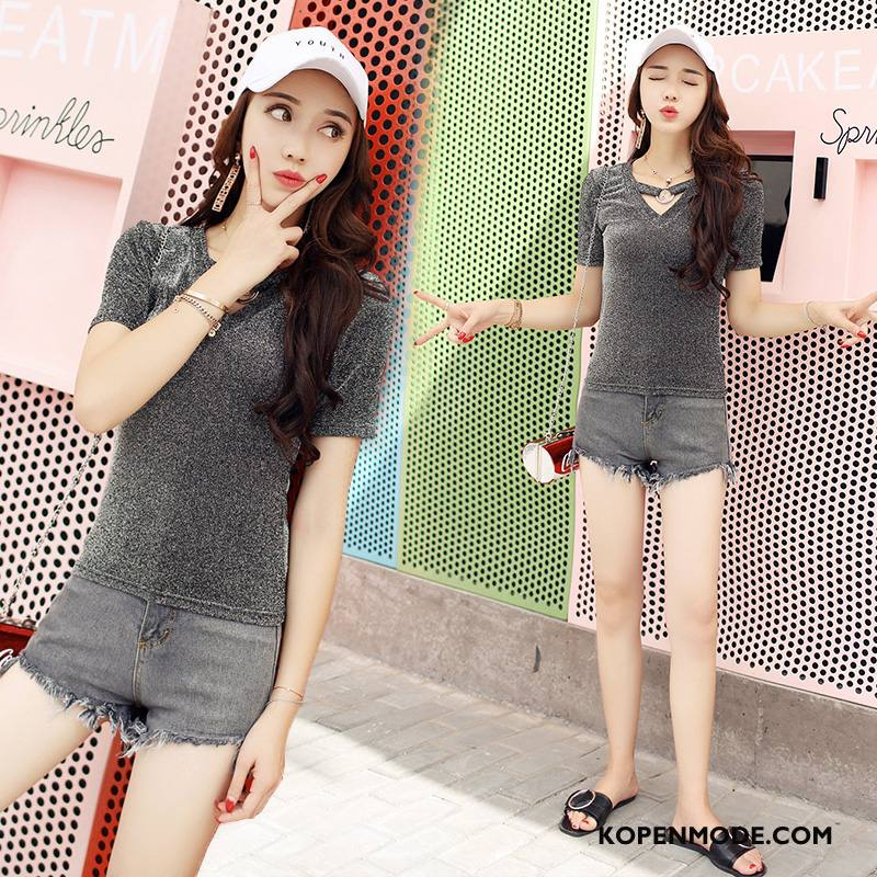 Shorts Dames Trend Eenvoudige Zomer Korte Broek Mode Hete Broek Effen Kleur Blauw