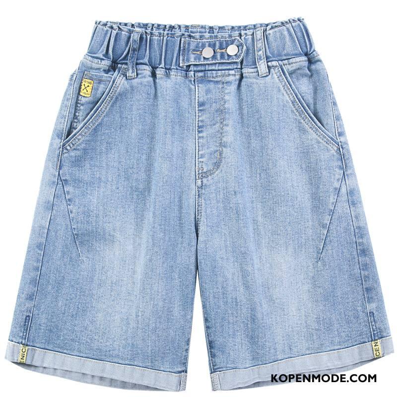 Shorts Dames Vrouwen Korte Broek Losse Elastiek Dunne Hoge Taille Blauw