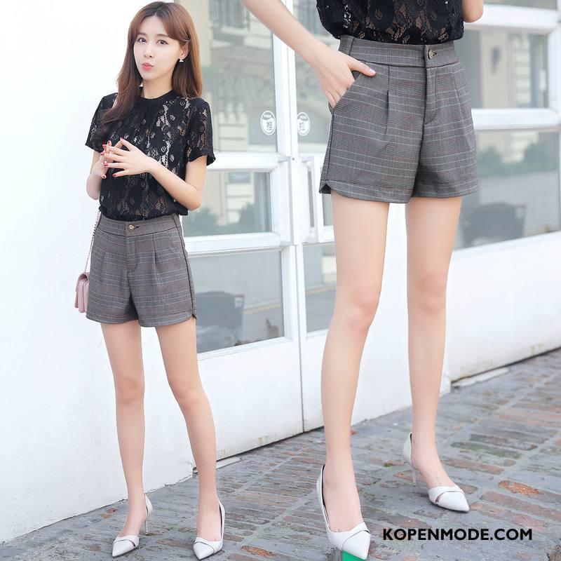Shorts Dames Zomer Rechtdoor Mode Korte Broek Trend Verbinding Grijs