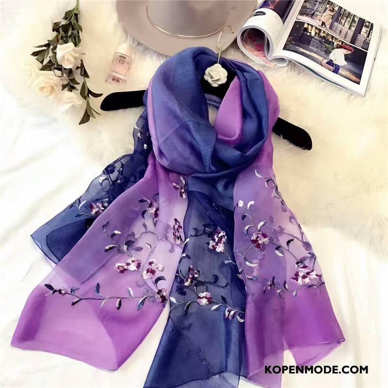 Sjaals Dames Borduurwerk Vrouwen Zonnebrandcrème Bloemen Alle Wedstrijden Geborduurde Gemengde Kleuren Blauw Purper