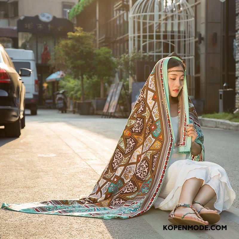 Sjaals Dames Decoratie Vrouwen Zonnebrandcrème Etnische Vintage Geel