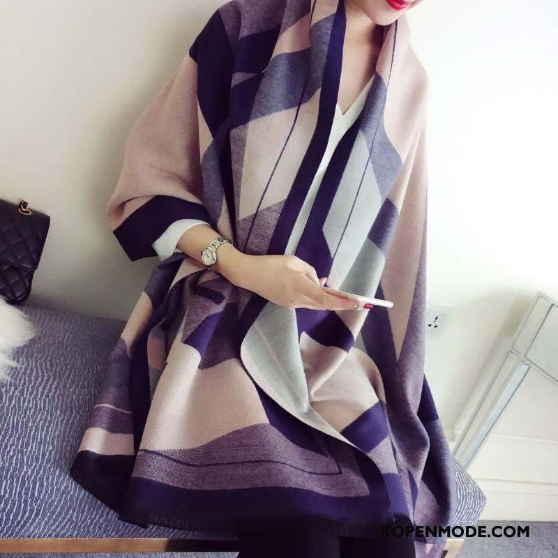 Sjaals Dames Dual Gebruik Kasjmier Wol Dubbelzijdige Lange Europa Marineblauw