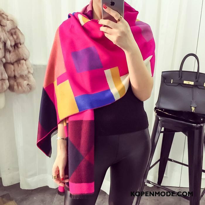 Sjaals Dames Herfst Dual Gebruik Dubbelzijdige Winter Geruit Lange Roze Rood Gemengde Kleuren