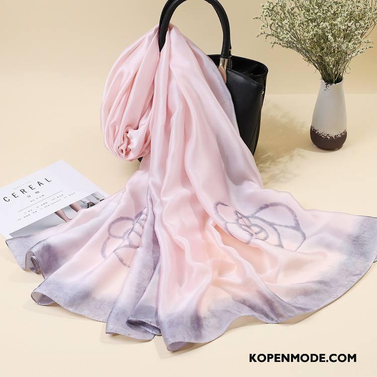 Sjaals Dames High End Zijde Vrouwen Zomer Decoratie Herfst Zandkleur Roze