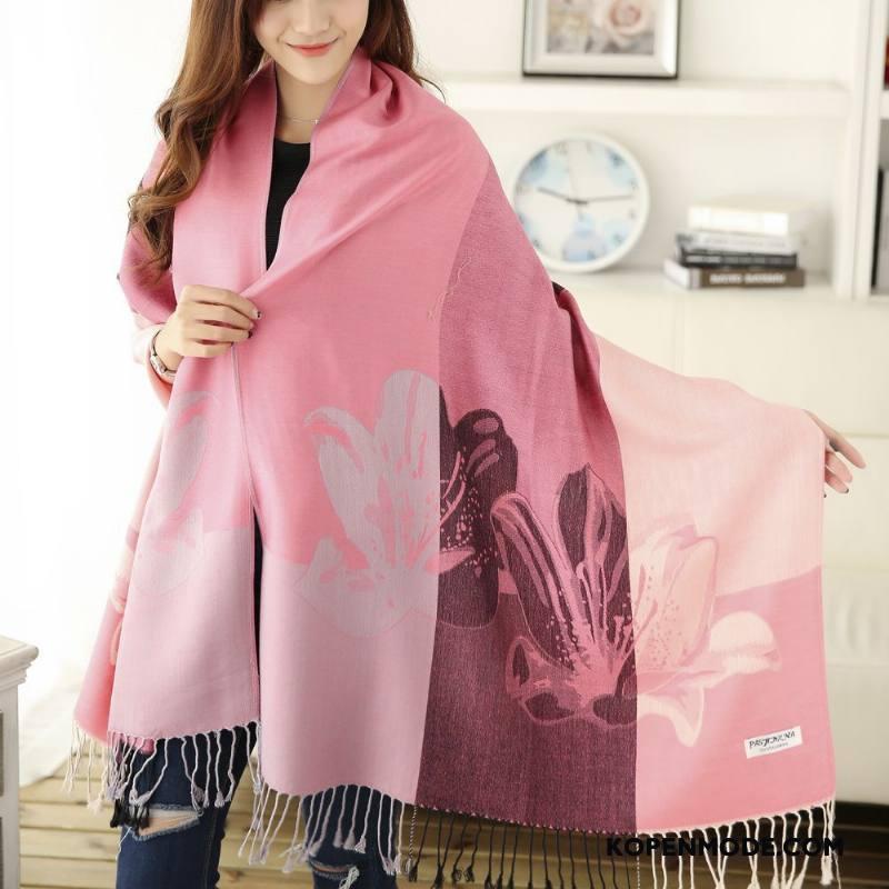 Sjaals Dames Kwasten Katoen Vintage Etnische Vrouwen Blijf Warm Roze Beige
