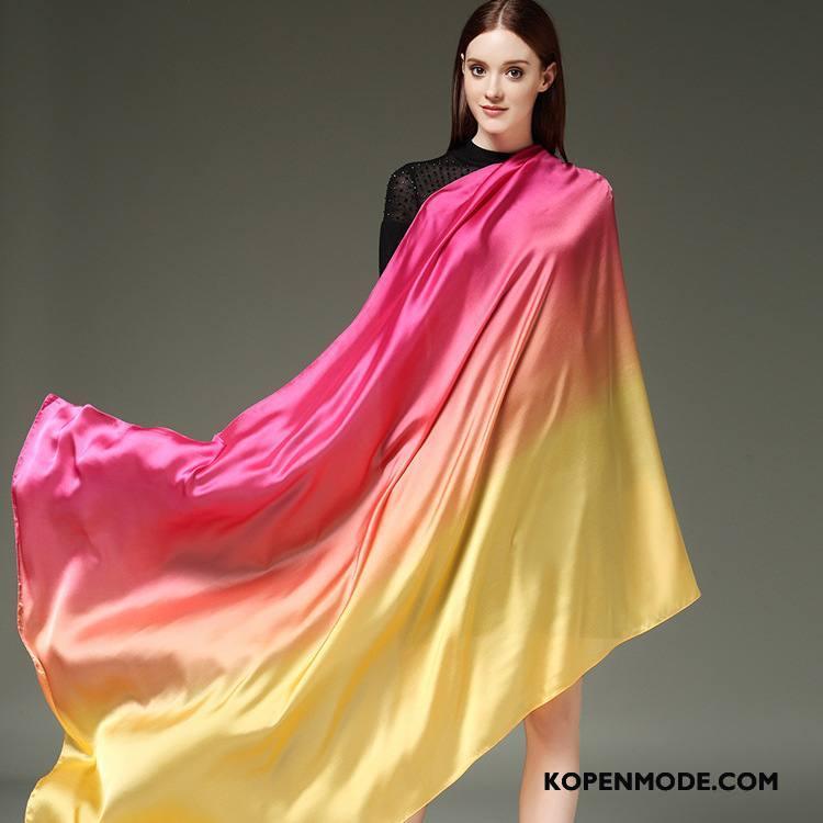Sjaals Dames Vrouwen Winter Herfst Lange Nieuw Zijde Roze Rood Kleurverloop Roze