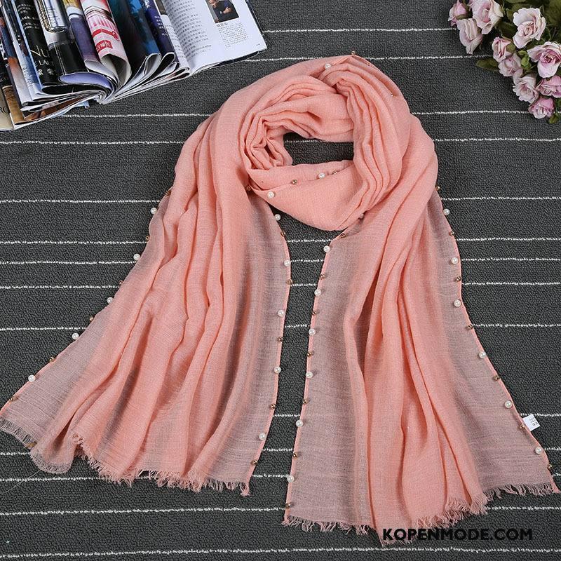 Sjaals Dames Zon Eenvoudig Zomer Nieuw Van Katoen Vrouwen Effen Kleur Roze