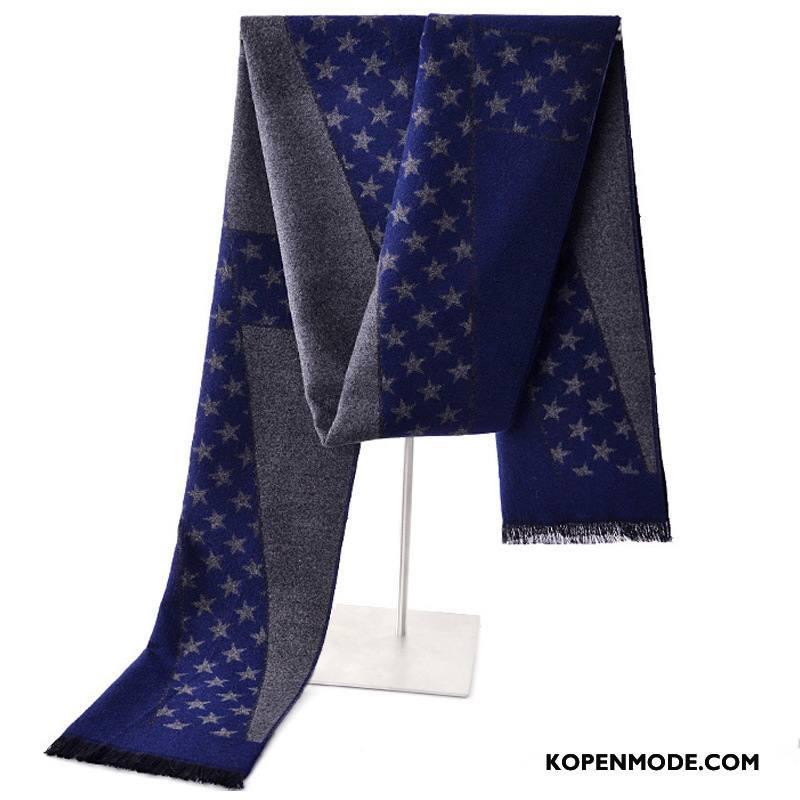 Sjaals Heren Blijf Warm Herfst Winter Mannen Fluweel Patroon Blauw Grijs