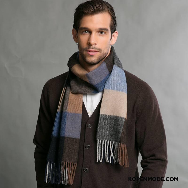 Sjaals Heren Blijf Warm Trend Geruit Wol Mannen Winter Bruine