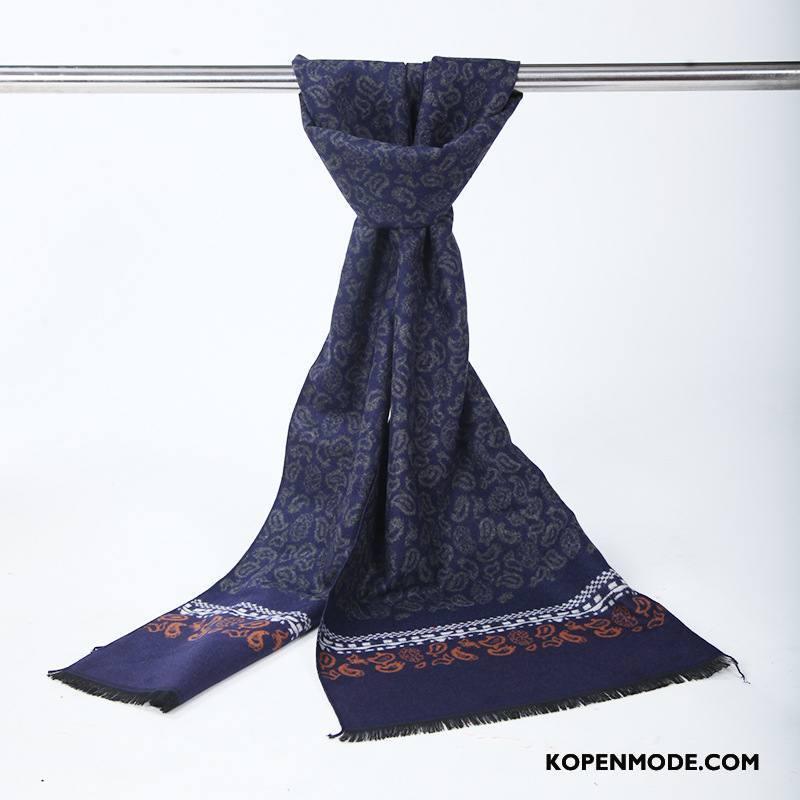 Sjaals Heren Blijf Warm Trend Verdikken Mode Fluweel Business Donkerblauw