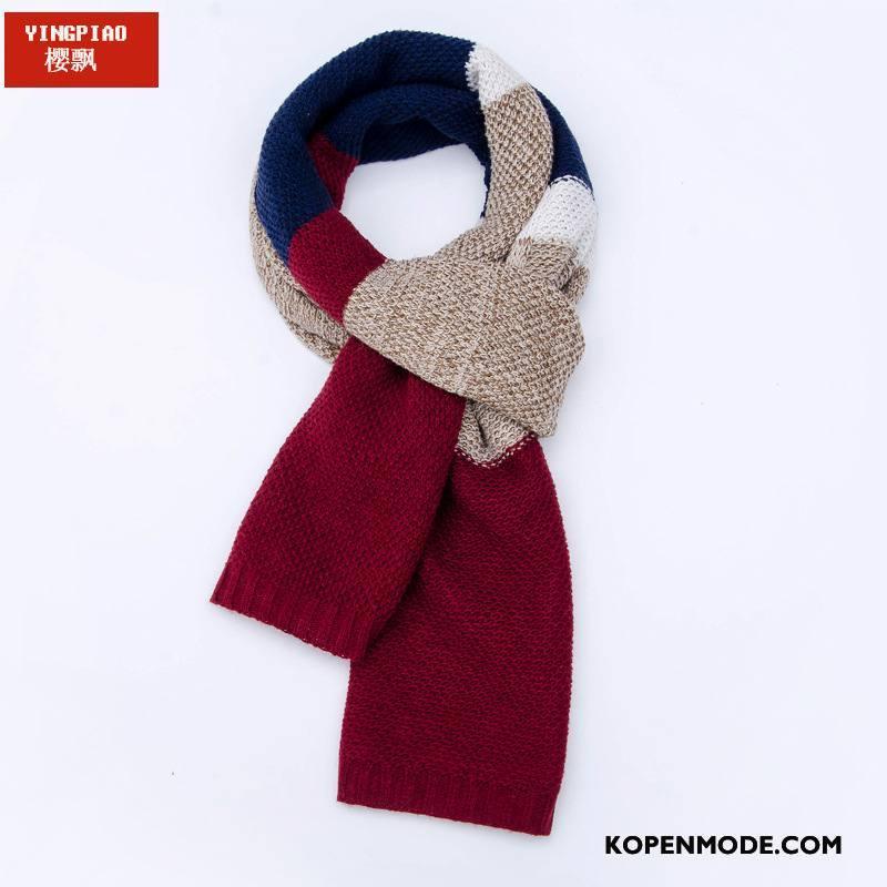 Sjaals Heren Breien Mannen 2018 Mode Wollen Bloemen Rood