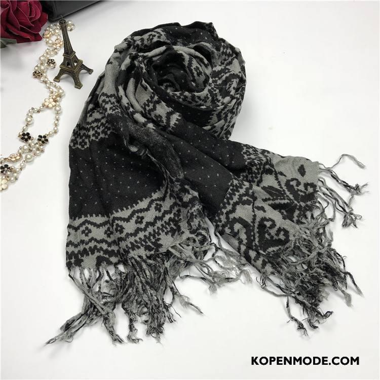 Sjaals Heren Lovers Vrouwen Mannen Winter Bedrukken Herfst Zwart