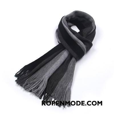 Sjaals Heren Mannen Winter Blijf Warm Streep Kasjmier Trend Zwart Grijs