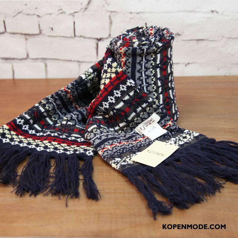 Sjaals Heren Mode Blijf Warm Breien Lange Bloemen Persoonlijkheid Marineblauw