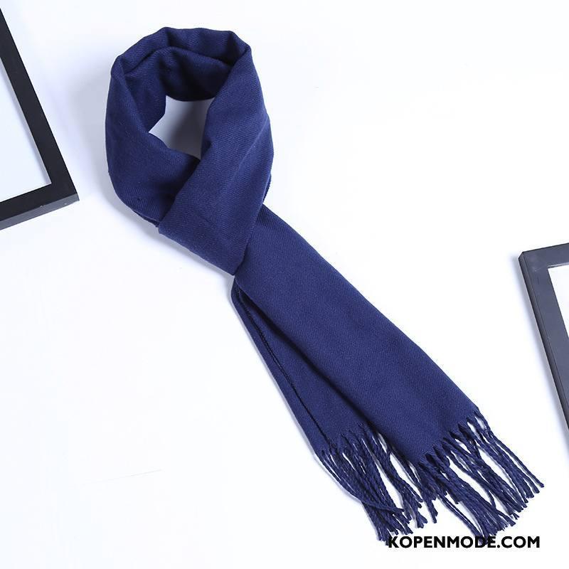 Sjaals Heren Nieuw Herfst Volwassen Mode Stijl Katoen Donkerblauw Effen Kleur