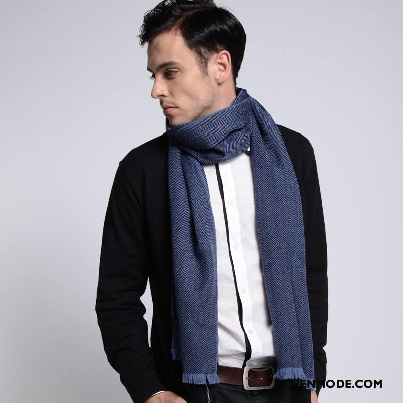 Sjaals Heren Winter Eenvoudig Blijf Warm Herfst Mannen Wol Effen Kleur Blauw