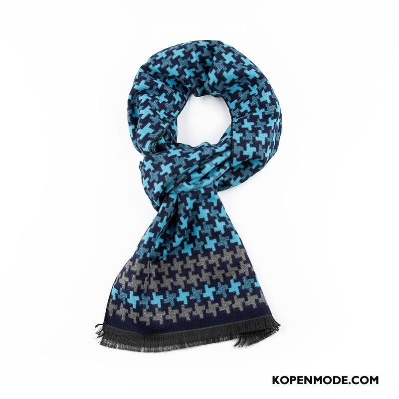 Sjaals Heren Winter Mannen Echte Vrouwen Blijf Warm Herfst Blauw
