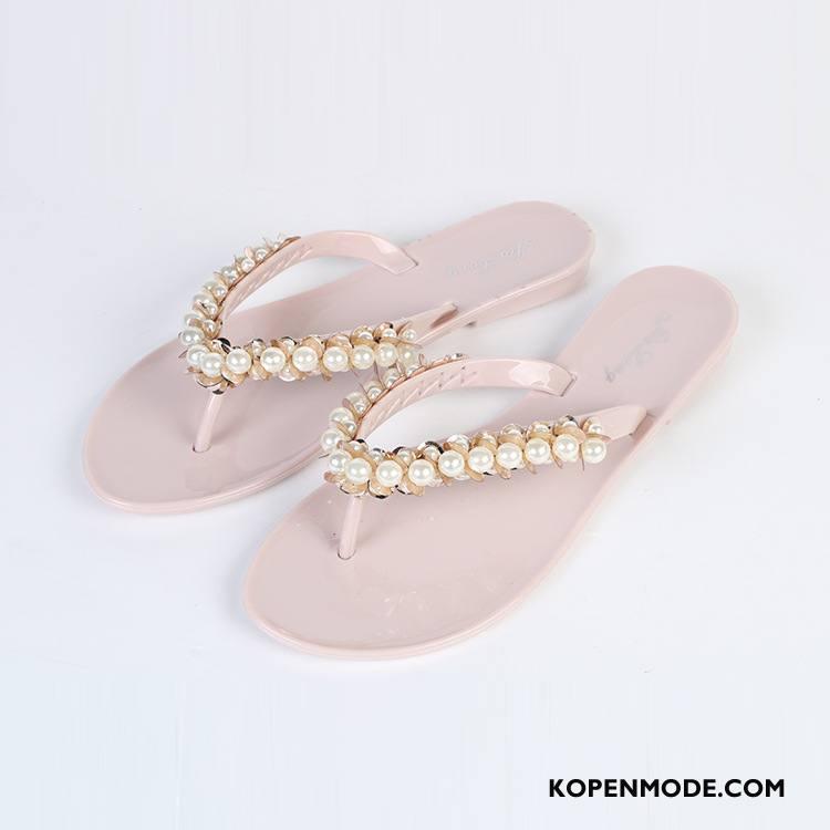 Slippers Dames Antislip Pantoffels Casual Mode Outdoor Zomer Roze Rood Zandkleur