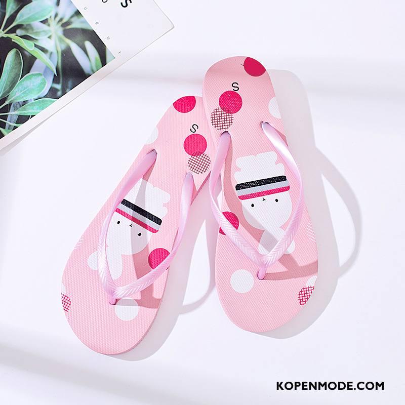 Slippers Dames Bedrukken Schoenen Pantoffels Mooie Bovenkleding Zomer Roze