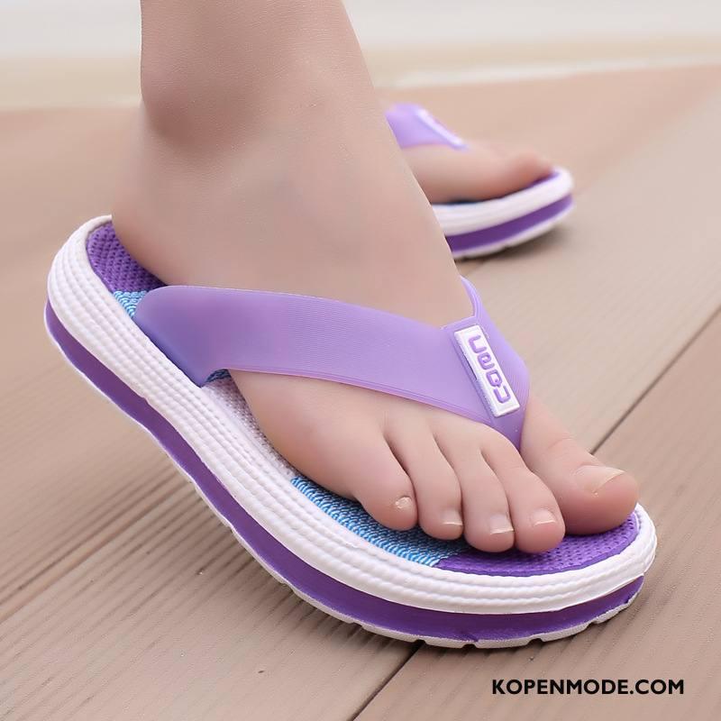 Slippers Dames Binnen Vrouw Plateauzool Antislip Zomer Pantoffels Purper Zandkleur