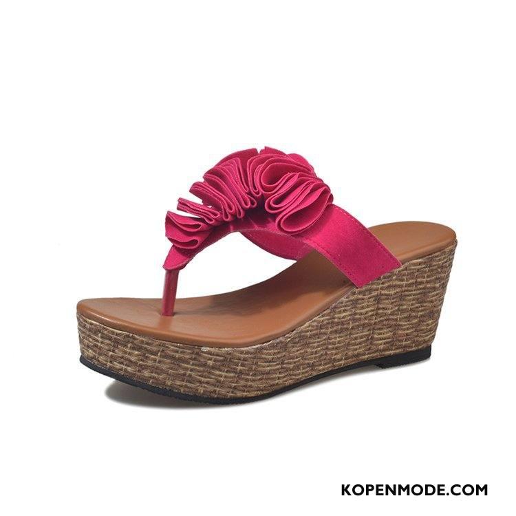Slippers Dames Bloemen Pantoffels Vrouw Mode Sleehak Zomer Roze Rood