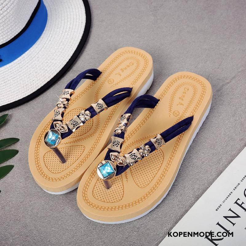 Slippers Dames Mode Alle Wedstrijden Pantoffels Plat Zomer Vrouwen Blauw Zandkleur