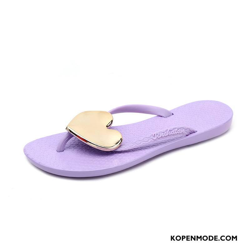 Slippers Dames Mode Plat Casual Pantoffels 2018 Vrouwen Purper Zandkleur