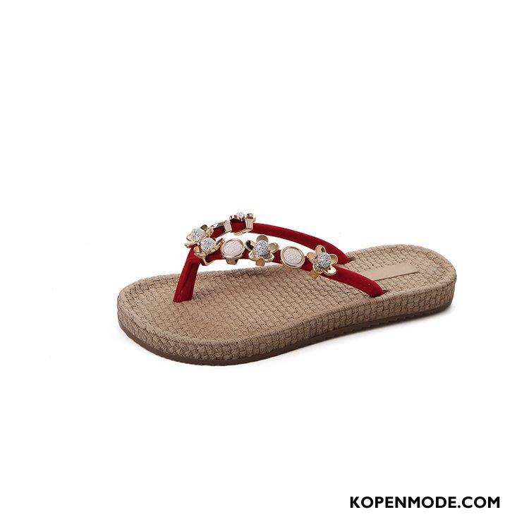 Slippers Dames Pantoffels Platte Zool Mode Zomer 2018 Vrouw Rood