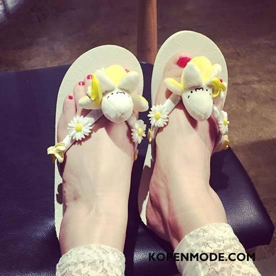 Slippers Dames Pantoffels Reis Vrouwen Mooie Spotprent Schoenen Zandkleur Wit
