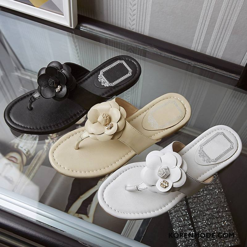 Slippers Dames Pantoffels Schoenen Zomer Vrouwen Bloemen Zwart