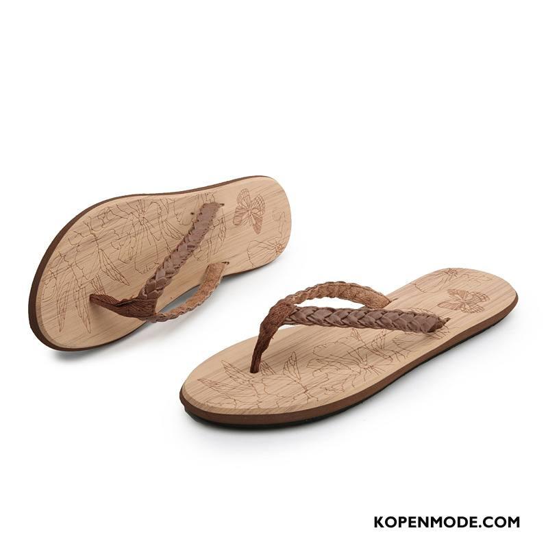 Slippers Dames Pantoffels Vintage Schoenen Antislip Reis Mode Zandkleur Bruine