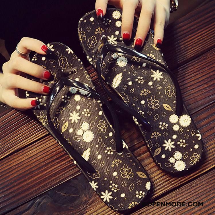 Slippers Dames Plat Vrouwen Mode Zomer Antislip Pantoffels Zandkleur Zwart