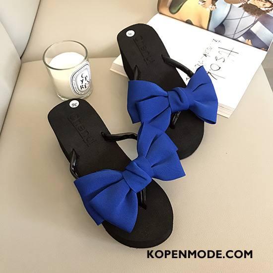 Slippers Dames Plateauzool Pantoffels Vrouwen Vlinderdas Bloemen Hoge Hakken Marineblauw Zandkleur