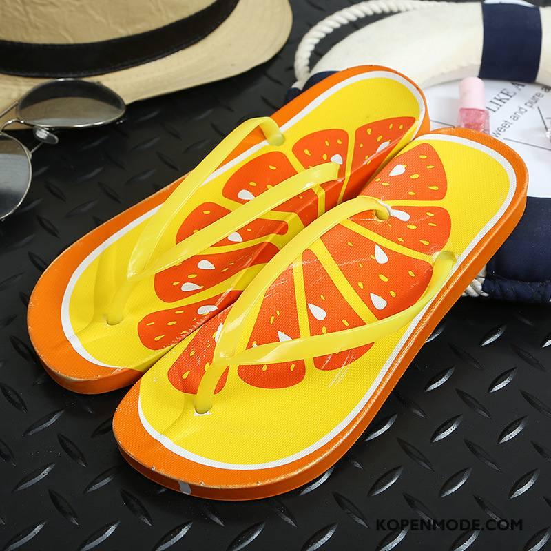 Slippers Dames Platte Zool Schoenen Antislip Vrouwen Zandkleur Oranje