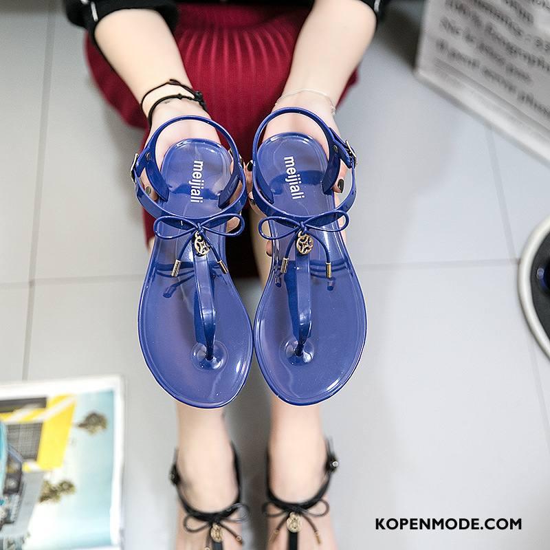 Slippers Dames Vlinderdas Mode Schoenen Pantoffels Vrouwen Platte Zool Blauw Zandkleur