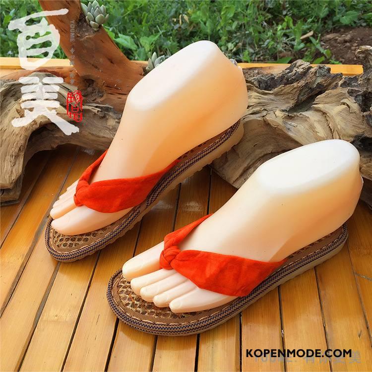Slippers Dames Vrouw Zachte Zolen Pantoffels Schoenen Zomer Vintage Bruine Oranje