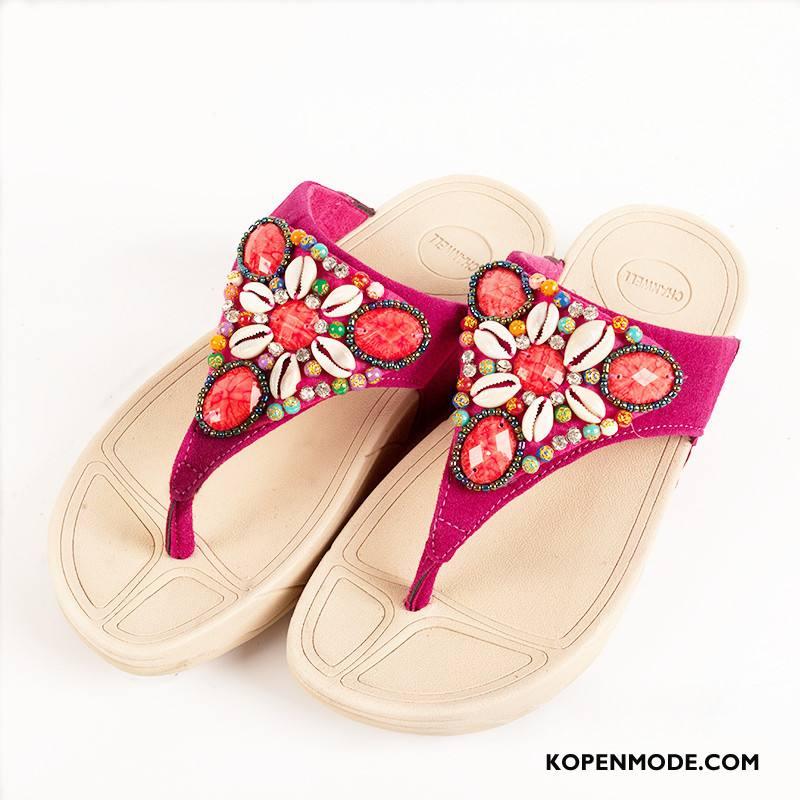 Slippers Dames Vrouwen Zomer Sleehak Schelp Pantoffels Roze Rood Zandkleur