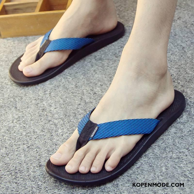 Slippers Heren Ademende Trend Antislip Zomer Schoenen Pantoffels Blauw Zandkleur