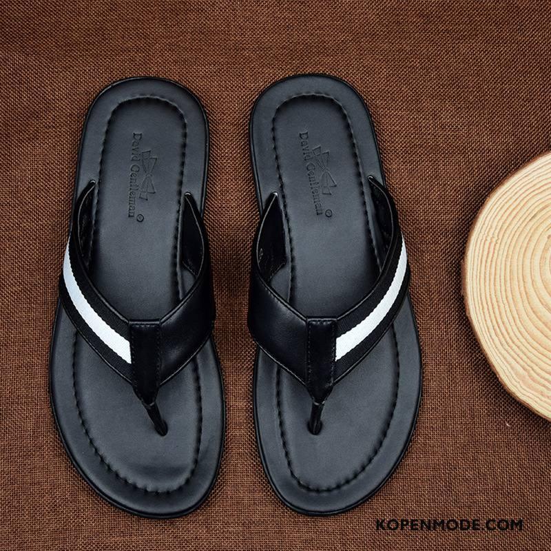 Slippers Heren Casual Pantoffels Zomer Comfortabele Trend Echt Leer Zwart