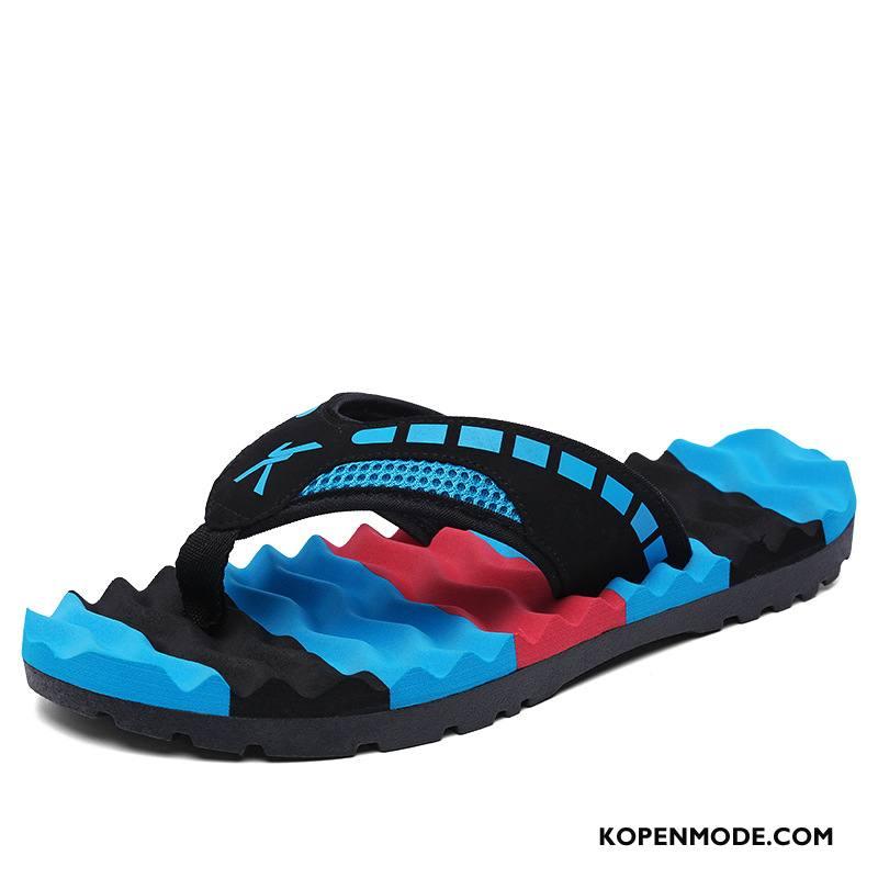 Slippers Heren Mannen Trend Pantoffels Pu Brits Schoenen Blauw Zandkleur