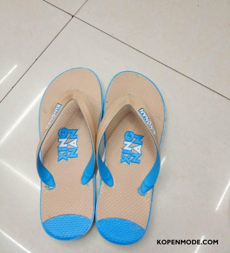 Slippers Heren Pantoffels Antislip Trend Student Eenvoudige Schoenen Blauw Zandkleur