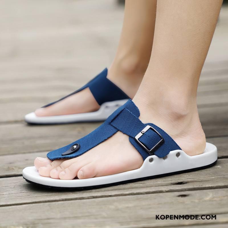Slippers Heren Persoonlijk Leer Outdoor Zomer Sandaal Schoenen Blauw Zandkleur