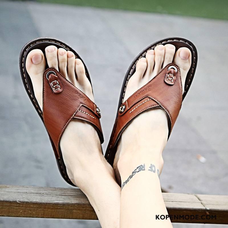 Slippers Heren Sandaal Leer Trend Brits Schoenen Grote Maten Zandkleur Rood Bruine