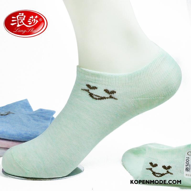 Sokken Dames Boot Sokken Laag Van Katoen Vrouwen Sport Ademend Licht Groen