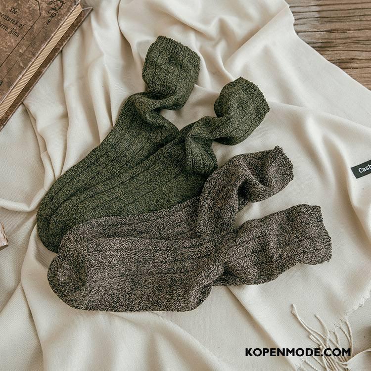 Sokken Heren 100% Katoen Herfst Midden Streep Winter Mannen Grijs